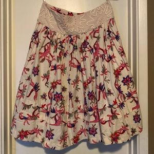 Anthropologie Palmetto Embroidered Skirt
